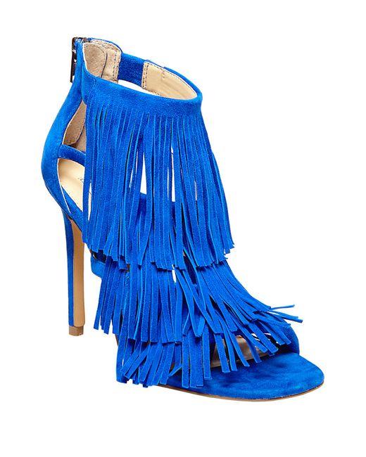Steve Madden | Blue Fringly Suede High-heel Sandals | Lyst