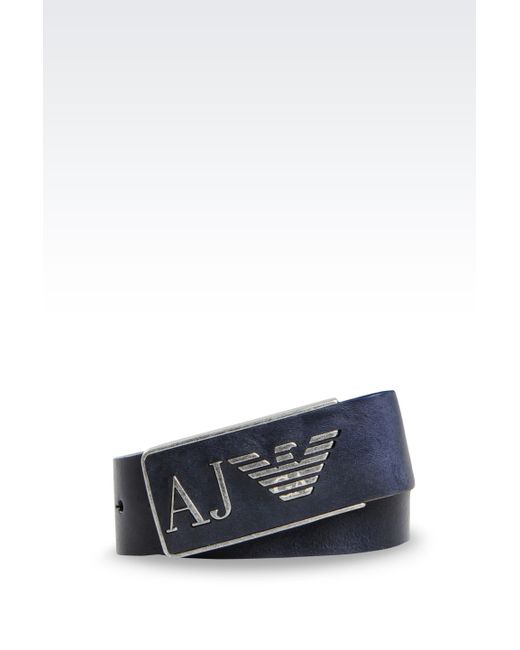 Armani Jeans | Blue Leather Belt With Special Packaging for Men | Lyst