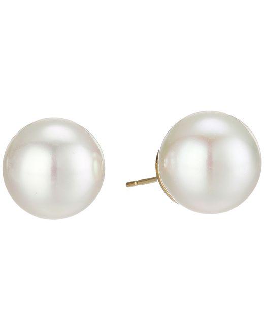 Majorica | White 14mm Round Pearl Stud Earrings | Lyst