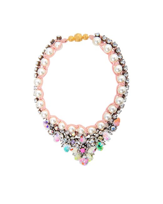 Shourouk | Pink Theresa Sequined Mini Necklace | Lyst