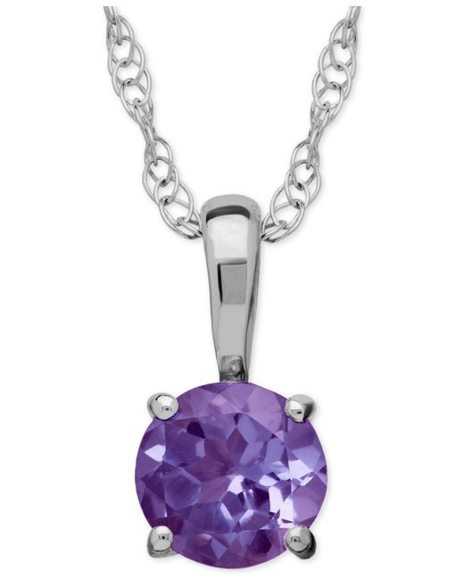 Macy's | Purple Amethyst Round Pendant Necklace In 14k White Gold (2/5 Ct. T.w.) | Lyst