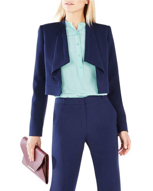 BCBGMAXAZRIA   Blue Franco Draped-collar Jacket   Lyst