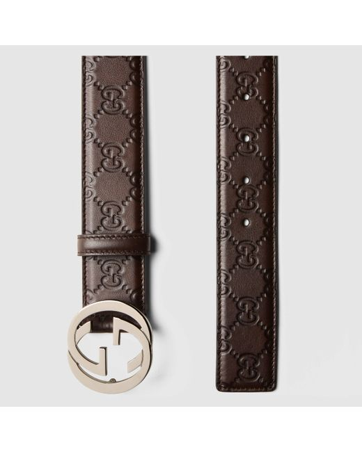 gucci ssima leather belt with interlocking g buckle in