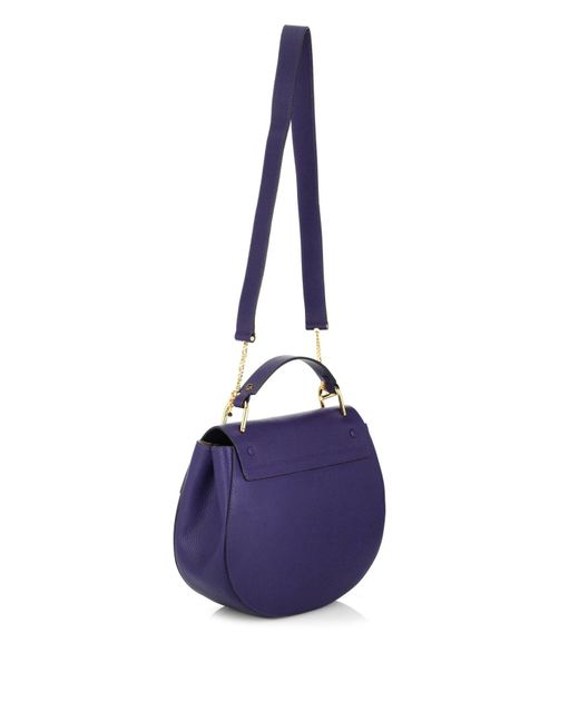 Chlo�� Drew Medium Leather Shoulder Bag in Blue | Lyst