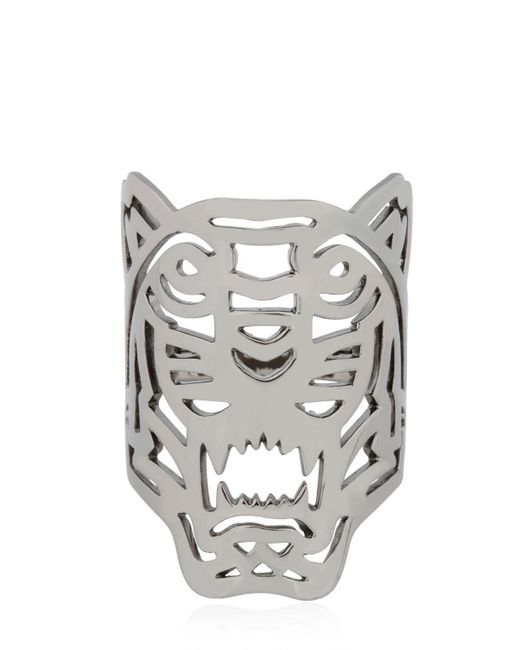 kenzo oversize tiger ring in silver black lyst
