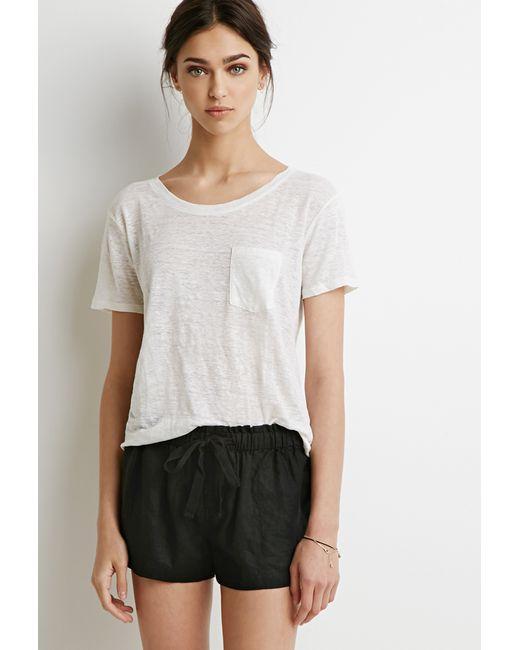 Forever 21   Black Linen Drawstring Shorts   Lyst