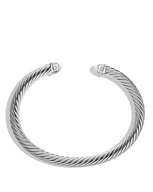 David Yurman | White Cable Classics Bracelet With Pearls & Diamonds | Lyst