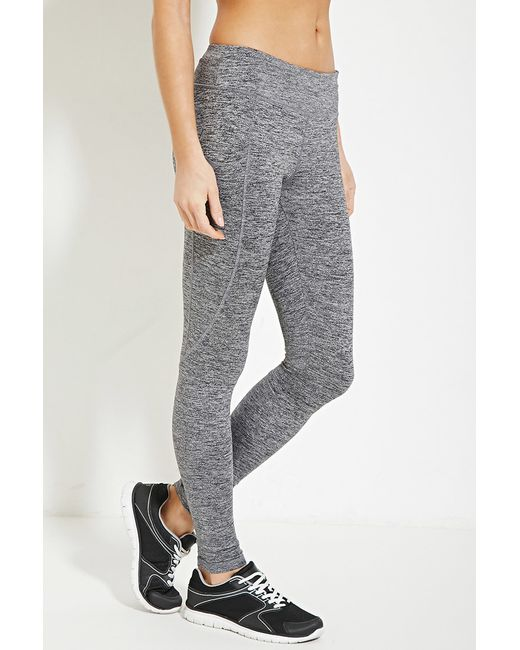 Forever 21 Active Heathered Yoga Leggings In Gray