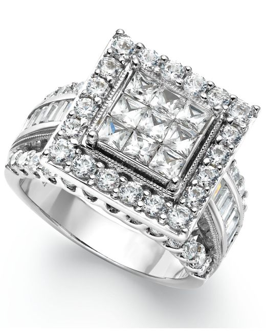 Diamond Engagement Ring 3 Carats Tw 14k White Gold: Macy's Diamond Square Engagement Ring In 14k White Gold (3