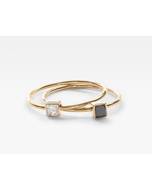 Vrai & Oro | Metallic Square Diamond Stacking Pair | Lyst