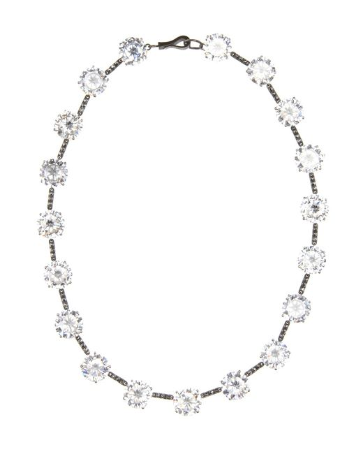 Bottega Veneta | Metallic Oxidised Sterling Silver And Cubic Zirconia Necklace | Lyst