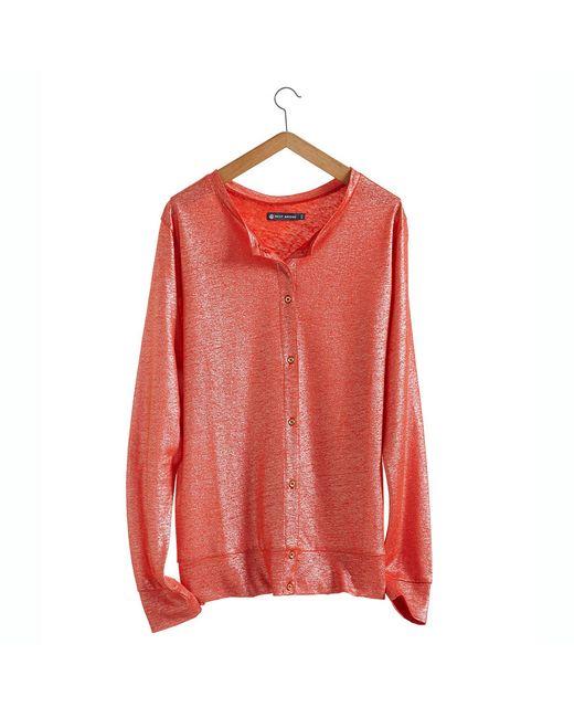 Petit Bateau   Orange Women's Linen And Lacquered Linen Cardigan.   Lyst