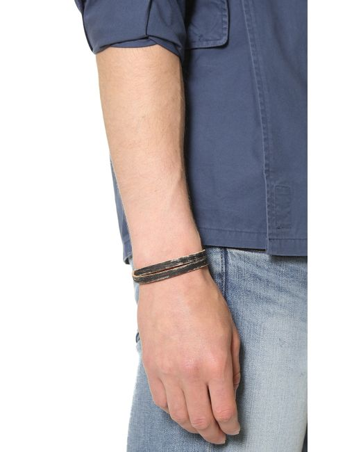 Cause and Effect | Black Brushed Leather Wrap Bracelet for Men | Lyst