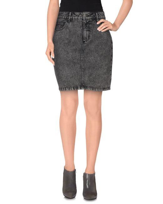 selected denim skirt in gray grey lyst