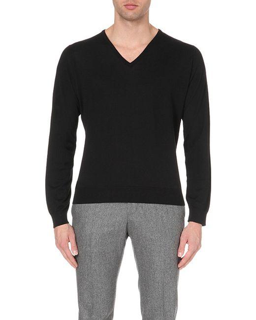 John Smedley | Black Bampton Knitted Jumper for Men | Lyst