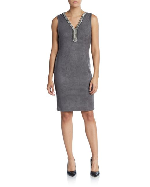 Saks Fifth Avenue Black Label | Gray Jewelneck Shift Dress | Lyst