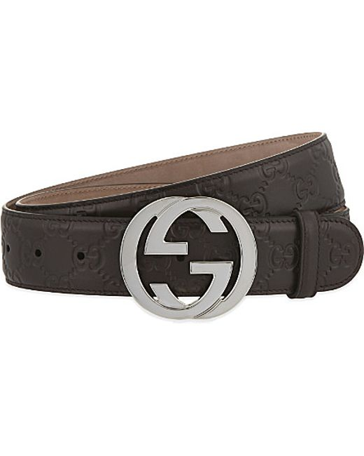 gucci leather logo belt in brown for lyst