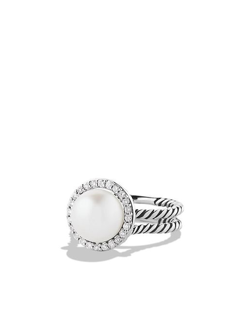 david yurman cable pearl ring with diamonds in white