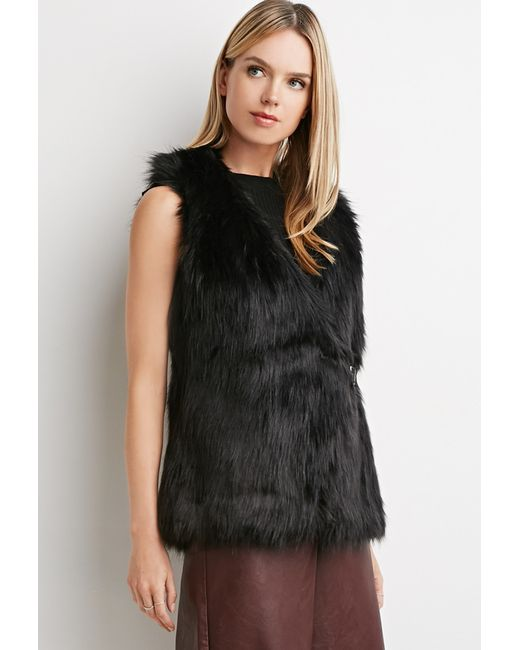 Forever 21 | Black Contemporary Buckled Faux Fur Vest | Lyst