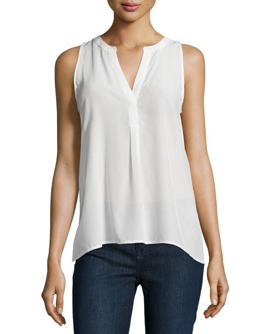 Joie | White Aruna Split-neck Silk Top | Lyst