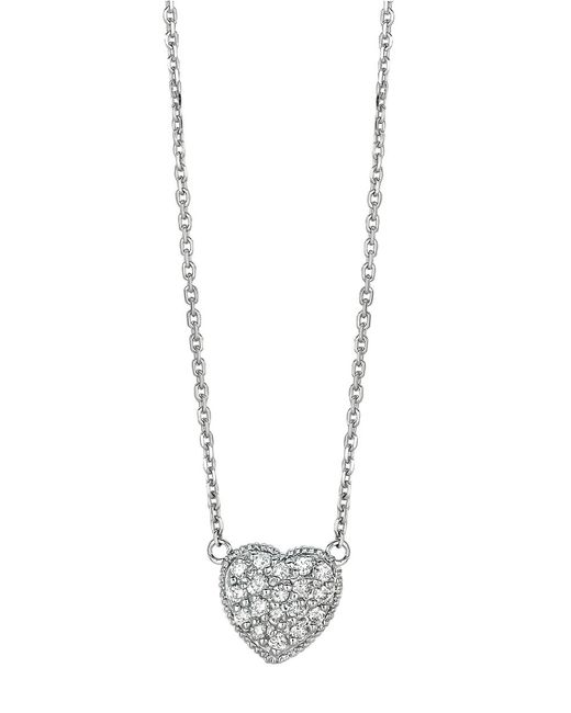 Morris & David | Metallic 14kt White Gold And Diamond Heart Necklace | Lyst