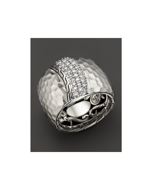 John Hardy | Metallic Palu Silver Diamond Pave Wide Overlap Band Ring | Lyst
