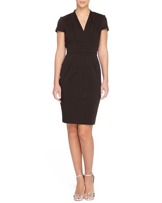 Catherine malandrino 'dale' V-neck Sheath Dress in Black | Lyst