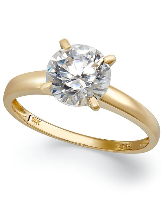 Arabella | Metallic 14k Gold Swarovski Zirconia Solitaire Ring (3-1/2 Ct. T.w.) | Lyst