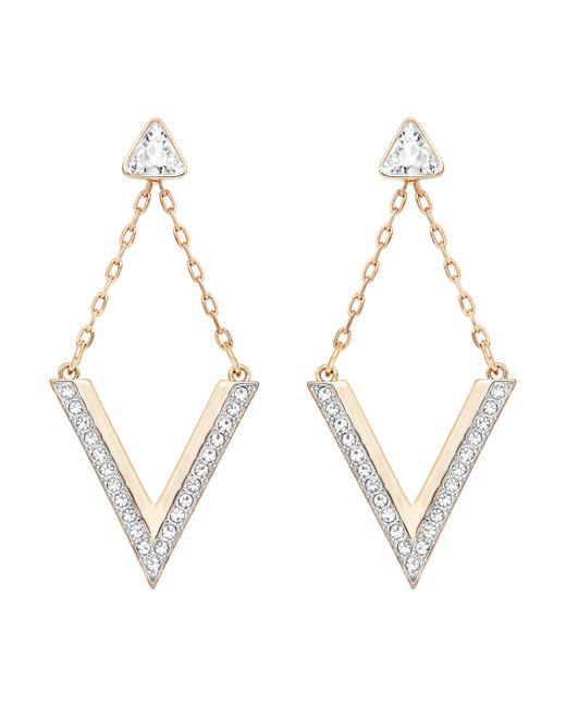 Swarovski | Pink Delta Pierced Earrings | Lyst