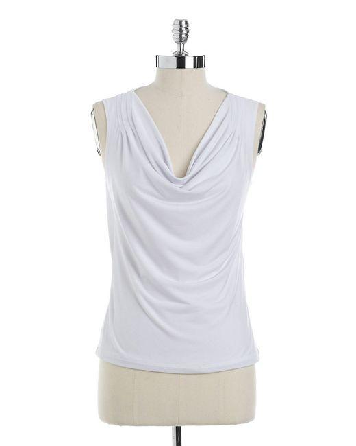 Calvin Klein | White Petite Cowlneck Blouse | Lyst