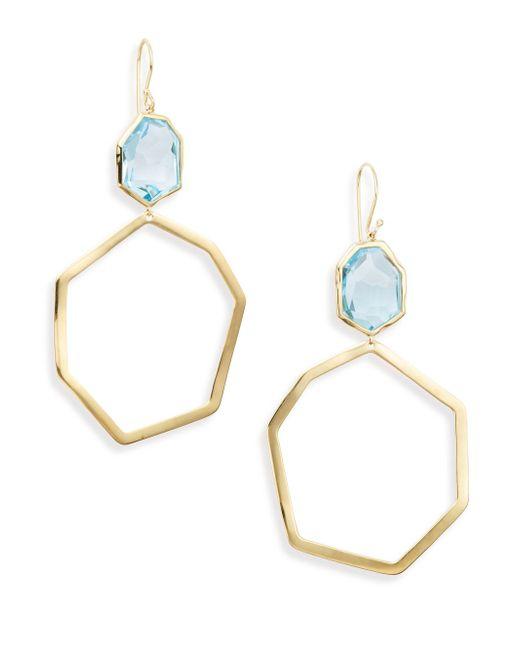 Ippolita   Metallic Modern Rock Candy Blue Topaz & 18k Yellow Gold Geometric Drop Earrings   Lyst