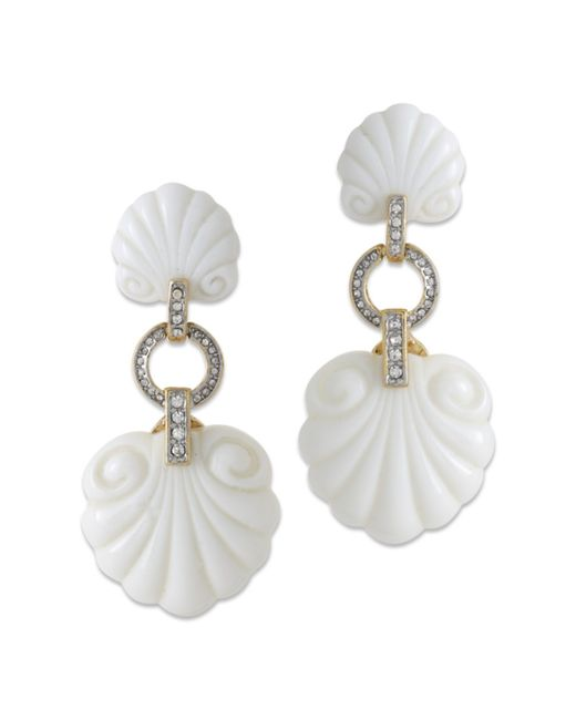 Kenneth Jay Lane | White Scallop Shape Clip Earring | Lyst