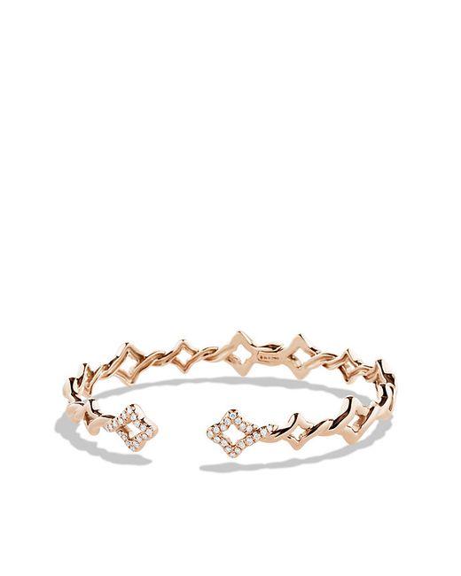 David Yurman | Pink Venetian Quatrefoil Single-row Cuff Bracelet With Diamonds In 18k Rose Gold, 9mm | Lyst