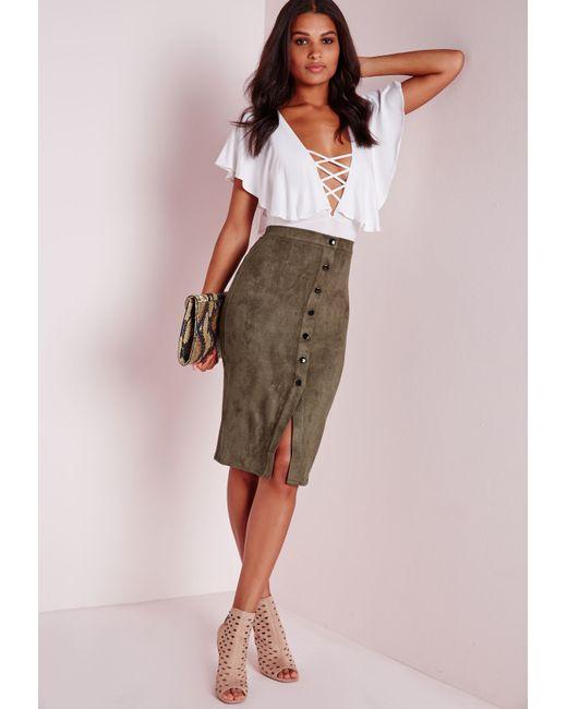 missguided button through faux suede midi skirt khaki in