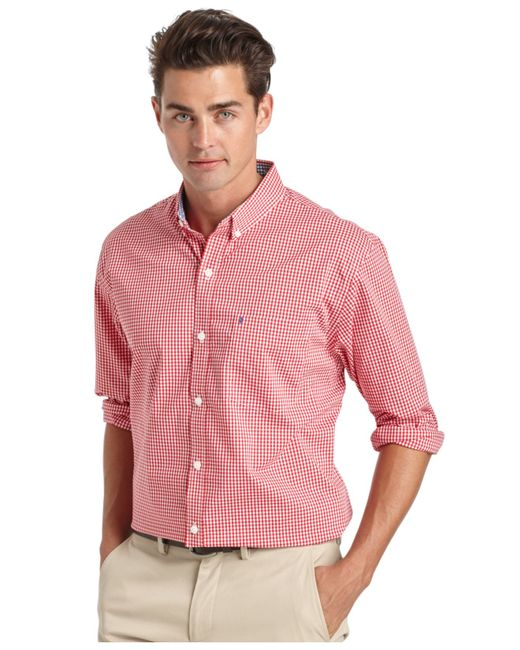 Izod big and tall gingham long sleeve shirt in red for men for Izod big and tall shirts