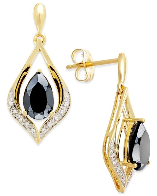 Macy's | Blue Onyx (1-1/4 Ct. T.w.) And Diamond Accent Earrings In 14k Gold | Lyst