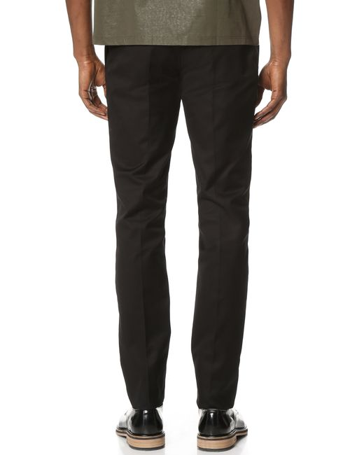 Calvin klein Exact Compact Cotton Twill Slim Fit Pants in Black for Men | Lyst