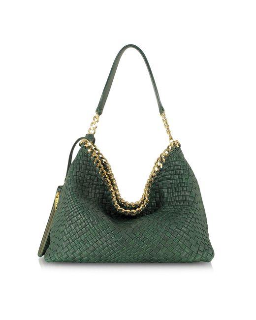 Ghibli Emerald Green Woven Leather Shoulder Bag in Green ...