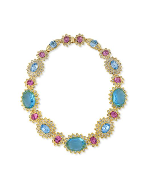 Kenneth Jay Lane | Blue Aquamarine And Pink Stone Necklace | Lyst