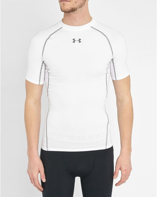 Under armour white heatgear compression t shirt in white for Under armour heatgear white shirt