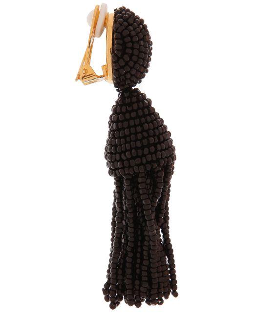 Oscar de la Renta | Black Short Tassel Clip-on Earrings | Lyst