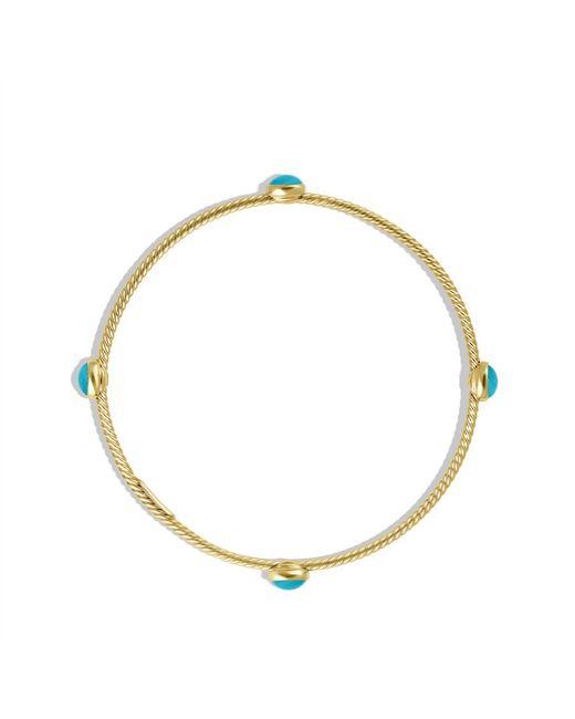 David Yurman | Color Classics Threestation Bangle with Blue Topaz and Diamonds | Lyst