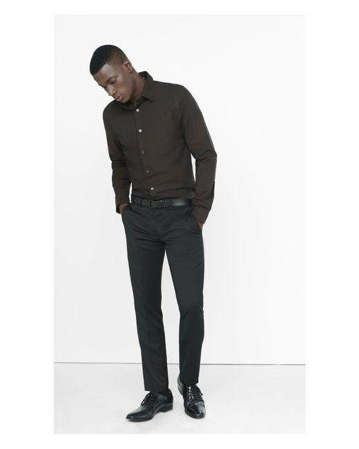 Express   Brown Slim Fit Iridescent 1mx Shirt for Men   Lyst