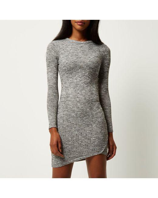 River Island Grey Ribbed Wrap Bodycon Dress In Gray Grey