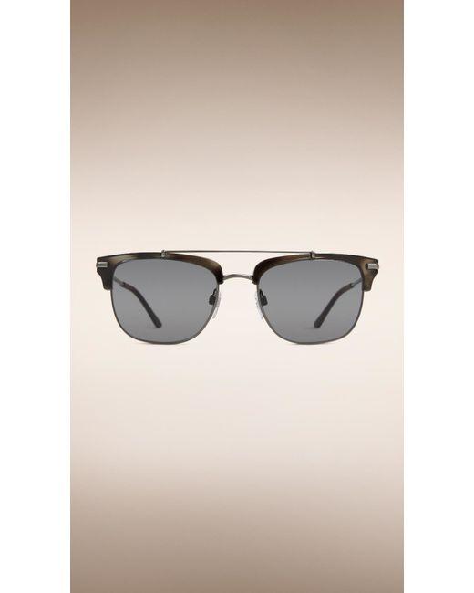 Burberry Black Frame Glasses : Burberry Square Frame Sunglasses Grey in Black for Men ...