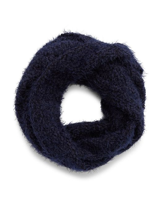 Calvin Klein | Blue Boucle Mixed Knit Scarf | Lyst
