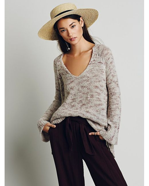 Free People | Natural Stella V-neck Pullover | Lyst
