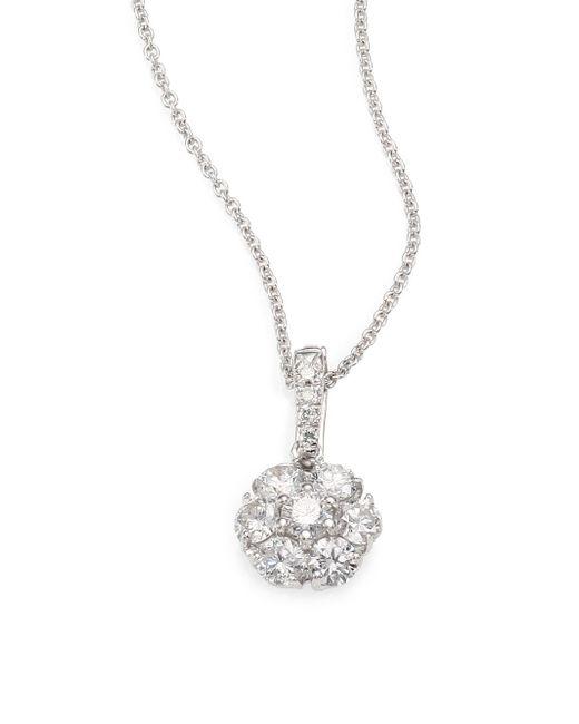 Saks Fifth Avenue | Blue 0.70 Tcw Certified Diamond & 18k White Gold Flower Pendant Necklace | Lyst