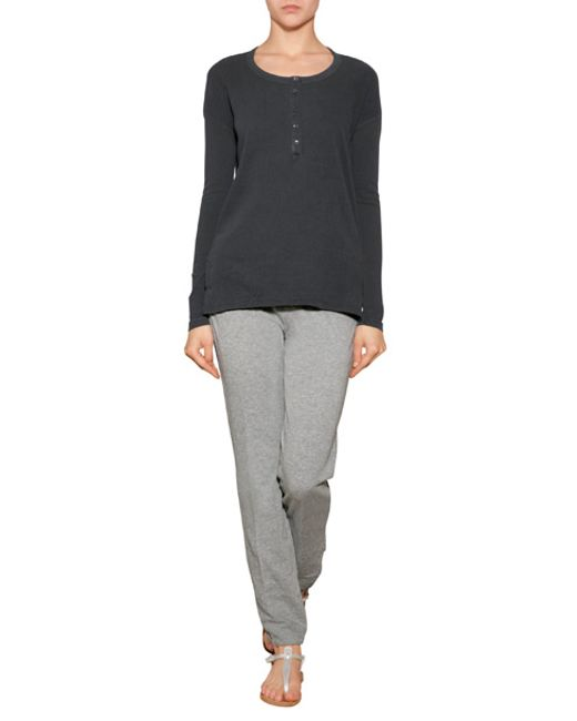 James Perse Cotton Henley Blue In Gray Lyst