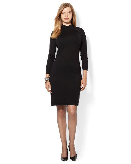 Lauren by Ralph Lauren | Black Plus Crepe Shift Dress | Lyst